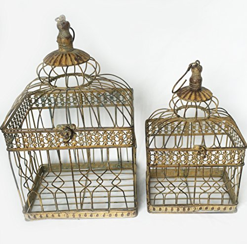 """The Soho Chic Birdcages, Set of 2, Dark metal, 18 ½"""" H and 14 ½"""" H by Whole House Worlds from Whole House Worlds"""