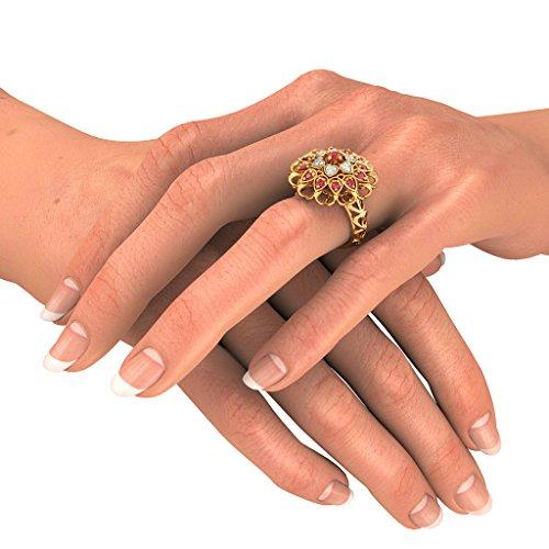 Or jaune 18K, 0.09carat Diamant Blanc (IJ | SI) Rubis et diamant Bague