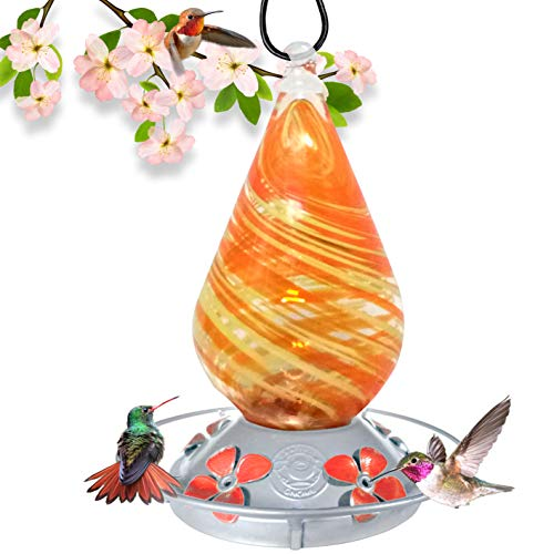 Grateful Gnome Hummingbird Feeder - Hand Blown Glass - Orange Twist - 24 Fluid Ounces