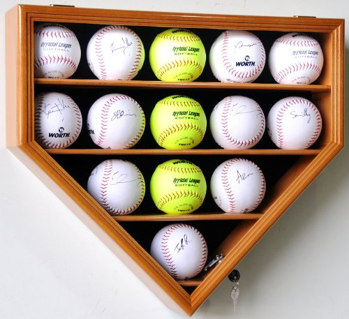 14 Softball Display Case Cabinet Wall Rack Home Plate Shaped w/ UV protection -Oak