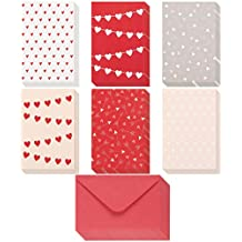 36 Pack Valentine Cards - Heart Pattern Love Cards - Romantic Greeting Cards with Red Envelopes - For Valentine's Day, Anniversary, Thinking of You, 4 x 6 Inches