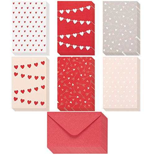 36 Pack Valentine Cards - Heart Pattern Love Cards - Romantic Greeting Cards with Red Envelopes - For Valentine's Day, Anniversary, Thinking of You, 4 x 6 Inches Heart Note Card