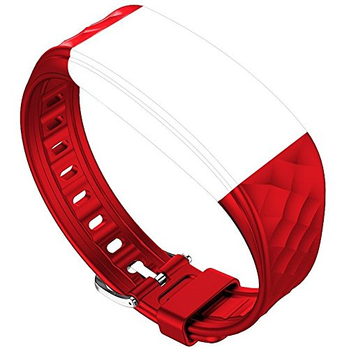 Juboury Replacement Band - Adjustable Strap for Juboury Heart Rate Activity Tracker Smart Wristband (Red)