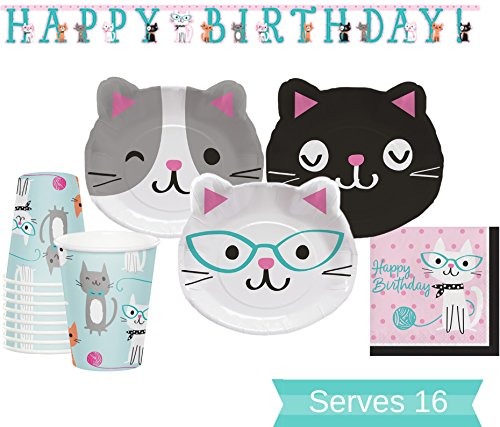 Cat Party Supplies Set - Dinner Plates, Cups, Napkins and Birthday Banner for 16 People - Cat Party Decorations Perfect for Birthday Party and All Fun Events! (Decoration Cat Themed)