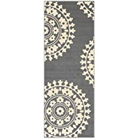 2'2' X 6' Rubber Backed Non Slip Kitchen/Hallway / Entryway Runner Rug, Medallion Grey
