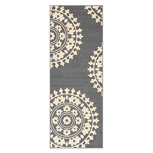 26-inch X 6-feet Non-Skid Rubber Backed Runner Rug | GREY - IVORY Medallion Modern Runner 2X6 by Qute Home