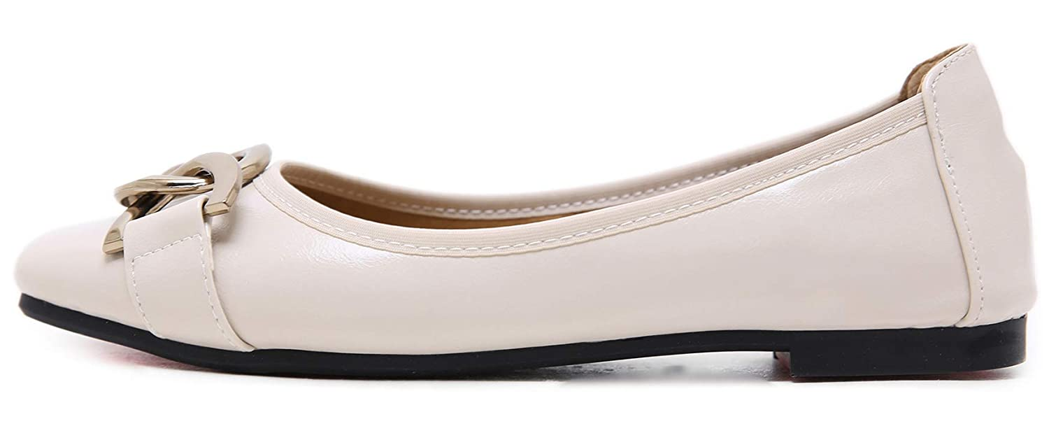 Mofri Womens Fashion Chain Square Toe Low Cut Solid Color Slip on Flats Shoes