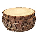 "Natural Wood Slices Round Pine Wood Slabs 5 Pack Round Rustic Woods Slices 9""-11"" Rustic Tree Bark Slice Weathered Log Disc Outdoor Country Barn Wedding Table"
