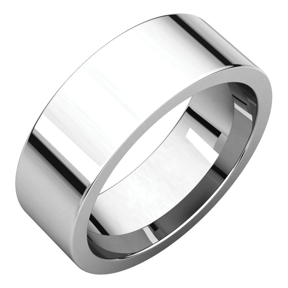 STU001- Palladium 7mm Flat Comfort Fit Wedding Band