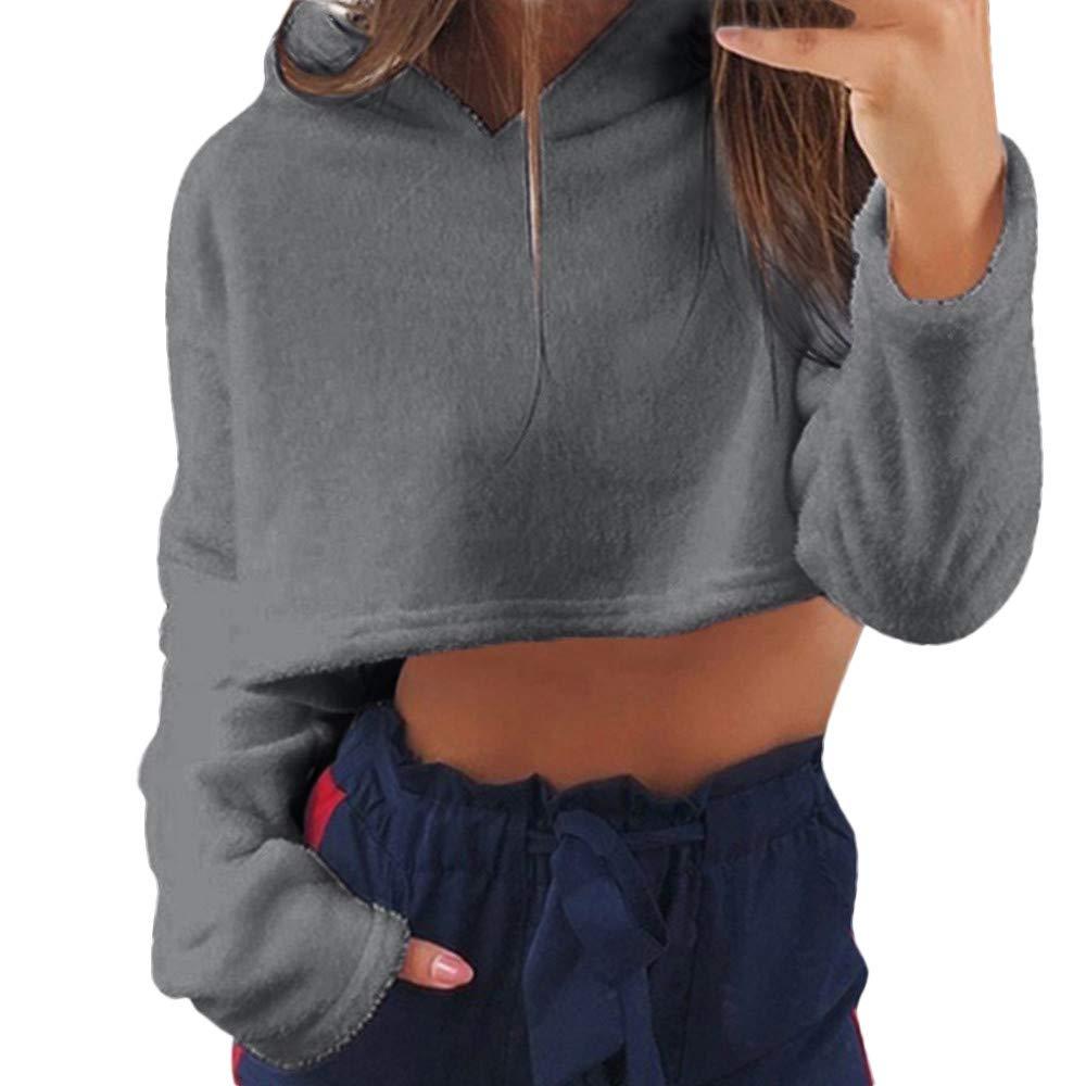 Simayixx Women Short Fur Hoodie Pullover Sweatshirts Casual Print Long Sleeve Crop Tops Tunic Clothes