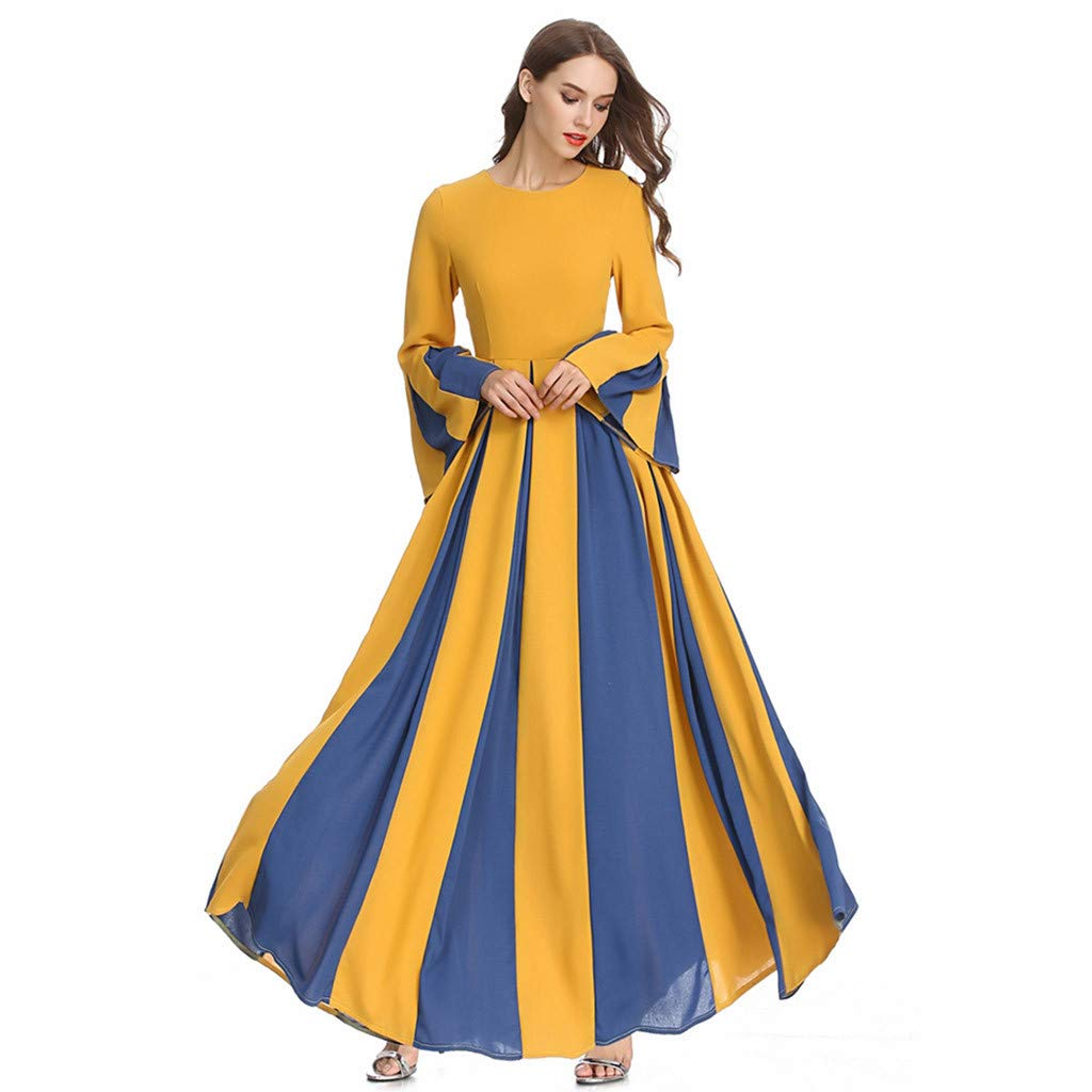 Sayhi Muslim Women's Stitching Slim A-line Pleated Dress Temperament Lady Dress Gowns Robe for Party Occasion(Yellow,M)