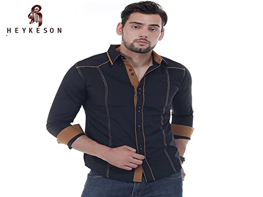 HEYKESON Summer Mens Casual Shirt Short Sleeved Dress Shirt Printing
