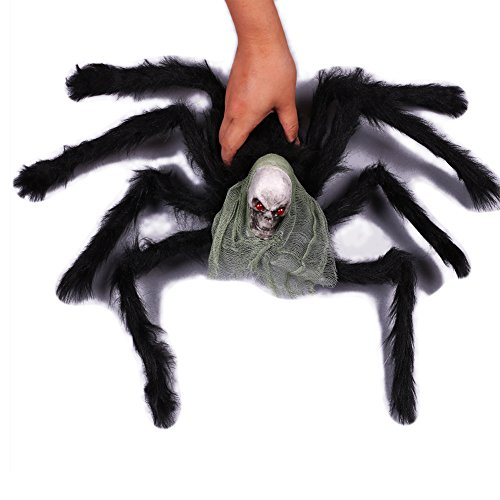 Spider Decorations - Halloween Giant Black Spider and Skeleton Skull Head Funny Toy For Party Or Bar KTV Halloween Outdoor Indoor Decoration
