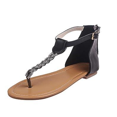1113550e7 HHei K Women s Summer Fashion Clip Toe Flat Diamond Beach Sandals Buckle  Strap Crystal Flip Flops Flats