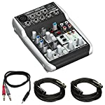 "Behringer Xenyx 5-Input 2-Bus Mixer & USB/Audio Interface (Q502USB) with 1/8"" TRS Male to Two 1/4"" TS Male Cable 3 Feet & 2x Premier Series XLR 10' Male to XLR Female 16AWG Gold Plated Cable by Behringer"