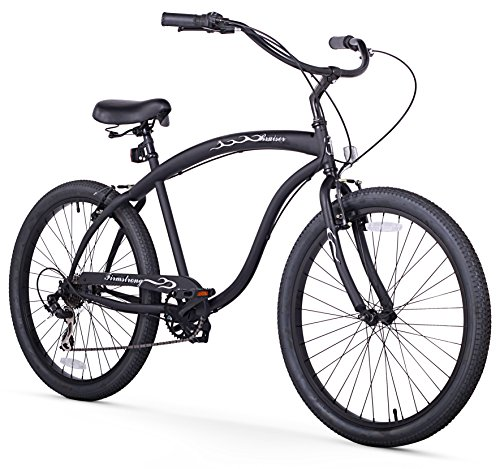 Firmstrong Bruiser Man Seven Speed Beach Cruiser Bicycle, 26-Inch, Matte Black
