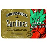 Brunswick Sardine with Tomato & Basil, 3.75-Ounce Cans (Pack of 25)