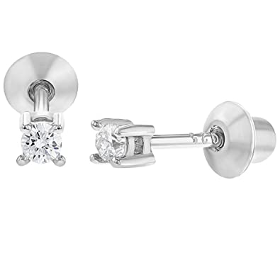 d5f359f8b 925 Sterling Silver Baby Earrings Screw Back Girls Children's Clear CZ 2mm