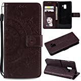 Galaxy A8 2018 Floral Wallet Case,Galaxy A8 2018 Strap Flip Case,Leecase Embossed Totem Flower Design Pu Leather Bookstyle Stand Flip Case for Samsung Galaxy A8 2018-Brown
