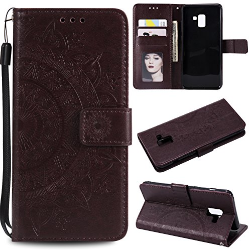Galaxy A8 Plus 2018 Floral Wallet Case,Galaxy A8 Plus 2018 Strap Flip Case,Leecase Embossed Totem Flower Design Pu Leather Bookstyle Stand Flip Case for Samsung Galaxy A8 Plus 2018-Brown by Leecase