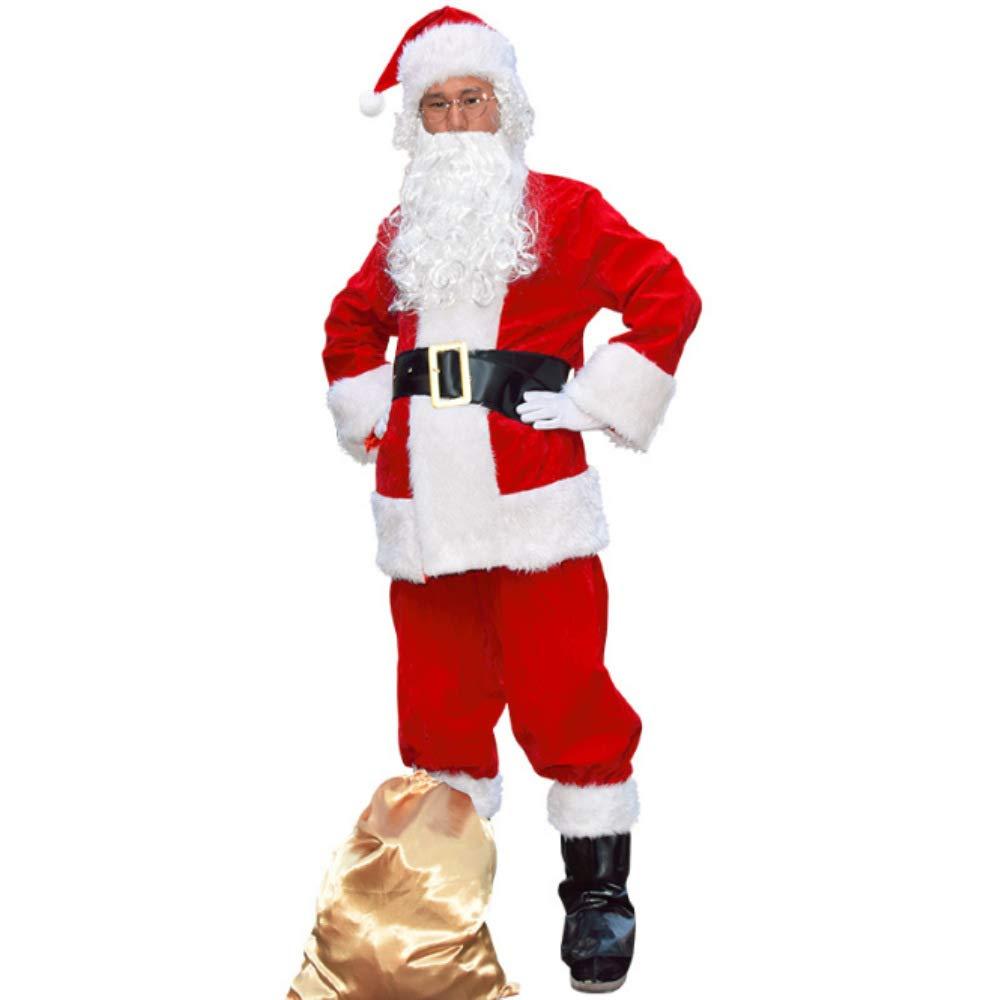 Mitef Adult's Christmas Costume Deluxe Santa Claus Suit 10pcs CSCS10-CA