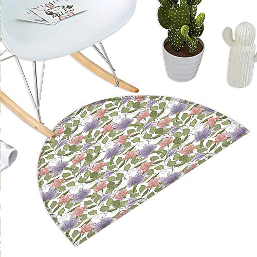 Anniutwo Floral Half Round Rubber Door mat Pastel Tone Tulip Flower Aged Ottoman National Symbol Petals Image Half Round Coir Door mat Coral Lilac and Olive Green