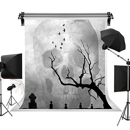 (Kate Halloween Grey Backgrounds Skeleton Dead Tree Crow Halloween Backdrop for Children Photography Studio Halloween Photo 5x7ft)