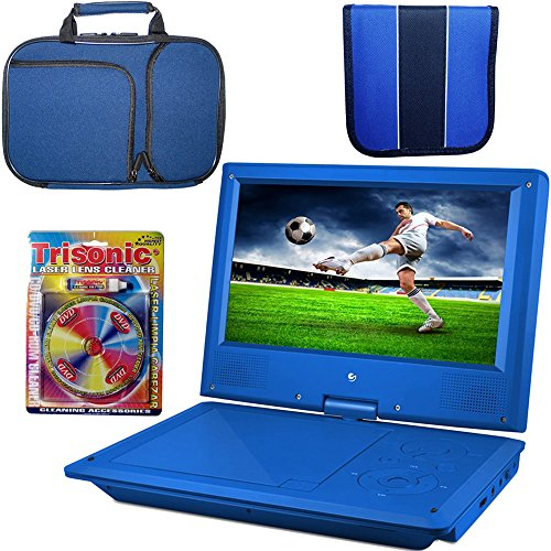 Ematic 9 Inch DVD Player Bundle - Blue  w/ Cleaning Kit, Por