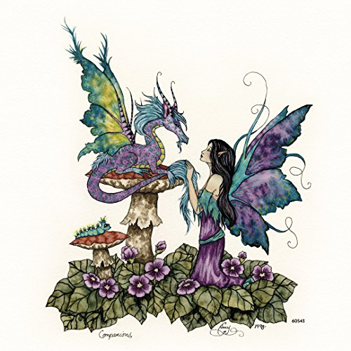 Tree-Free Greetings Refrigerator Magnet, 3.5x3.5 Inches, Companions Dragon and Fairy by Amy Brown (60543) ()