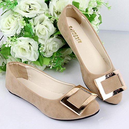 fashion Piso Slip Oficina Casual Khaki zapatos Comfort Outdoor Ons plano perezoso Mujeres Suede talón Mocasines amp; Walking LvYuan Carrera y Pqwg5x1q6
