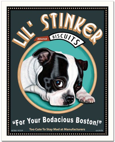 Retro Pets - Boston Terrier Art - Lil' Stinker Biscuits by Krista Brooks - 8x10 Ready to Frame ART PRINT