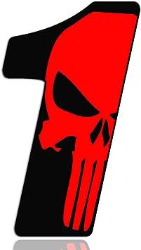Biomar Labs Startnummer Nummern Auto Moto Vinyl Aufkleber Sticker Skull Schädel Punisher Rot Motorrad Motocross Motorsport Racing Nummer Tuning 1 N 351 Auto