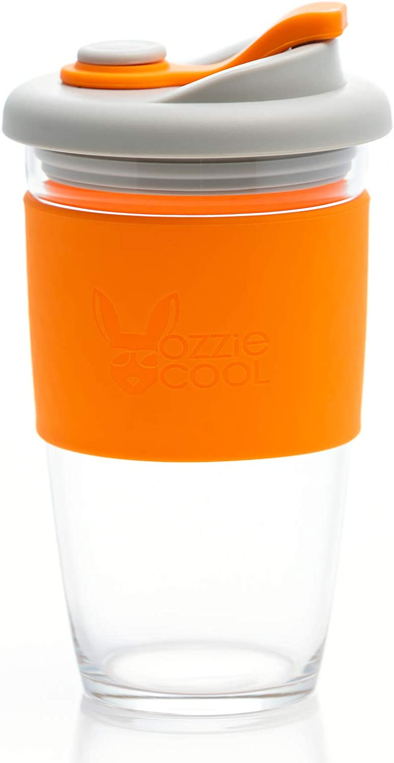 OzzieCup Reusable Coffee Cup Glass Travel Mug with Leak Free Lid and Non-slip Sleeve - Dishwasher and Microwave Safe - Portable Durable Drinking Tumbler - Eco-Friendly (ORANGE, 16)