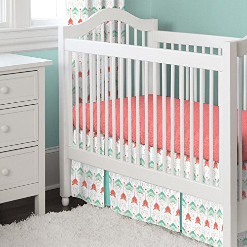 Carousel Designs Coral and Teal Arrow 2-Piece Crib Bedding -