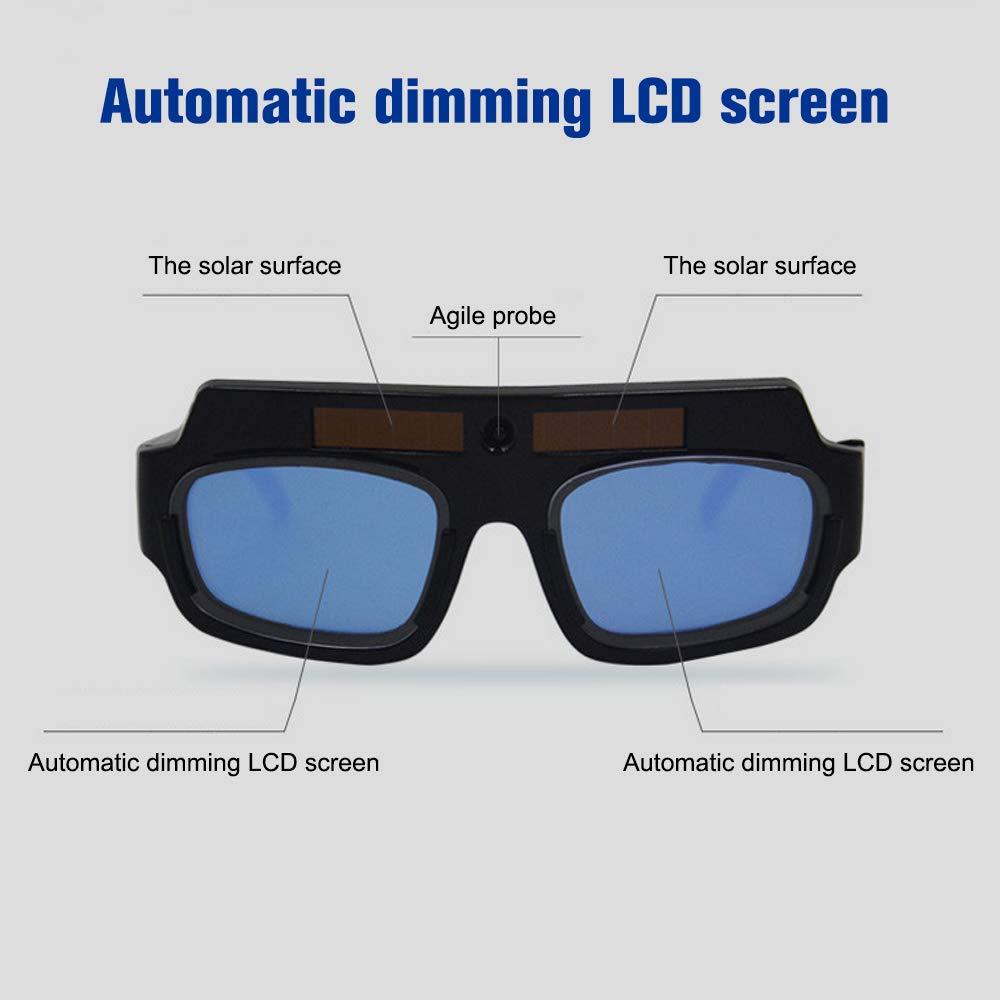 Festnight Solar Powered Auto Oscurecimiento Soldadura Goggle M/áscara Casco Soldador Gafas PC Lente Ojo Gafas para protecci/ón de Soldadura