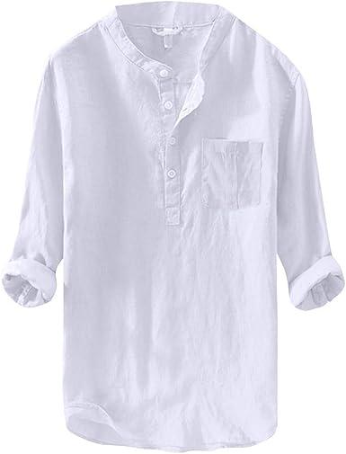 Yivise Camisa de Moda para Hombre Color Puro Manga Larga Blusa Suelta Blusa Casual Tops con Bolsillo: Amazon.es: Ropa y accesorios