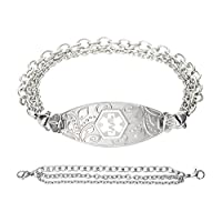 Divoti Deep Custom Laser Engraved Lovely Filigree Medical Alert Bracelet -Stainless Tri-Strand -White