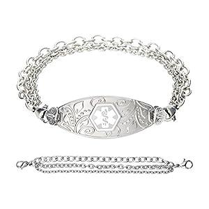 Divoti Deep Custom Laser Engraved Lovely Filigree Medical Alert Bracelet -Stainless Tri-Strand -White