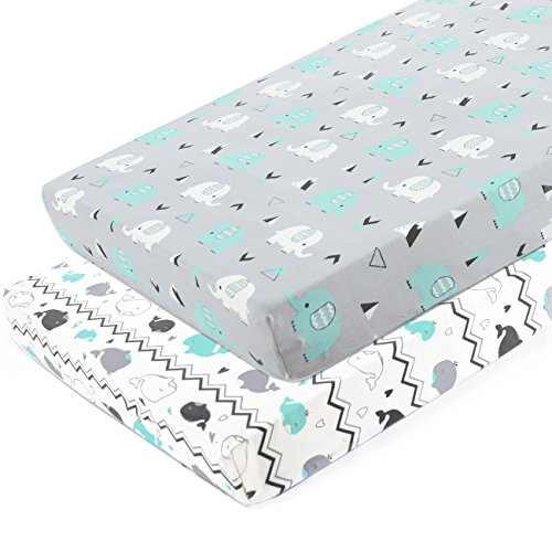 Pack n Play Stretchy Fitted Pack n Play Playard Sheet Set-Brolex 2 Pack Portable Mini Crib Sheets,Convertible Playard Mattress Cover,Ultra Soft Material,Elephant & Whale (Placard Set)