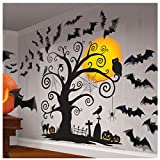 """Amscan Family Friendly Halloween Trick Or Treat Mega Value Party Scene Setters Wall Decorating Kit (32 Piece), 65"""" X 32 1/2, Black"""