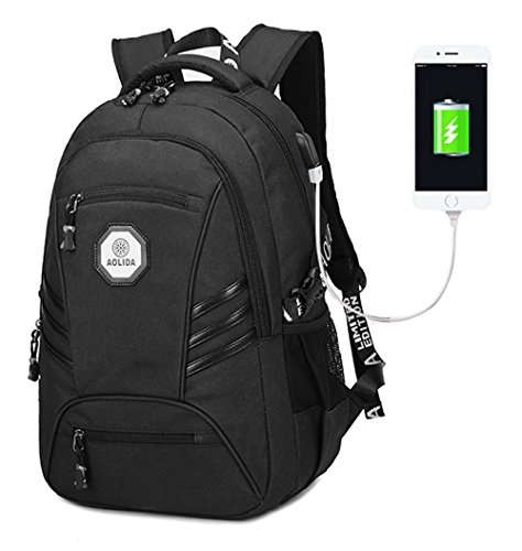 KOLAKO A-001 Waterproof Business Laptop Backpack, Casual Hiking Travel Daypack, College Computer Backpacks with USB Charging Port for Men, Fits 15.6 inch Laptop and Tablet, Black