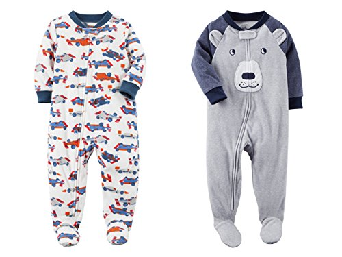 Carter's Baby Toddler Boy's 2 Pack Fleece Footed Pajama Sleep and Play Set (18 months, Zipper Closure - White Race Car and Grey Blue Bear (Infant Boys Long Sleeve Race)