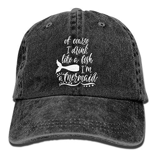 eb4c9a147846 CYOT CAO Course Drink Like Fish Mermaid Handwritten Truck Driver Hat Unisex  Sport Adjustable Baseball Caps
