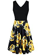 UXELY Women Elegant Sleeveless Floral Cocktail Party Dresses with Pockets
