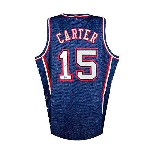 Vince Carter Autographed New York Nets Blue Custom Jersey - PSA COA (Vince Carter Nets Jersey)