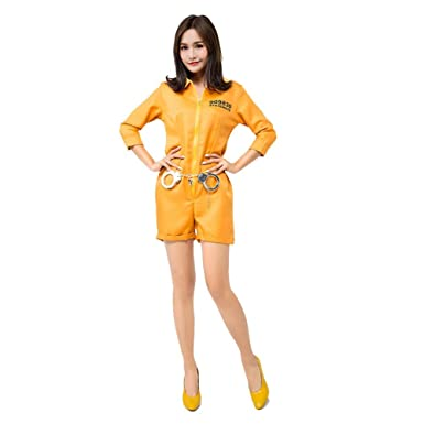 94f9c06a4b0 Amazon.com  H ZY Womens Halloween Yellow Prisoner Costume Outfit Cosplay  Jumpsuit Adult  Clothing