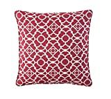 WAVERLY Indoor/Outdoor Decorative Throw Cushion – 17 x 17 Inches, FILLING INCLUDED, Available in Many Designs, Comfortable and Durable (Lov Latt RED)