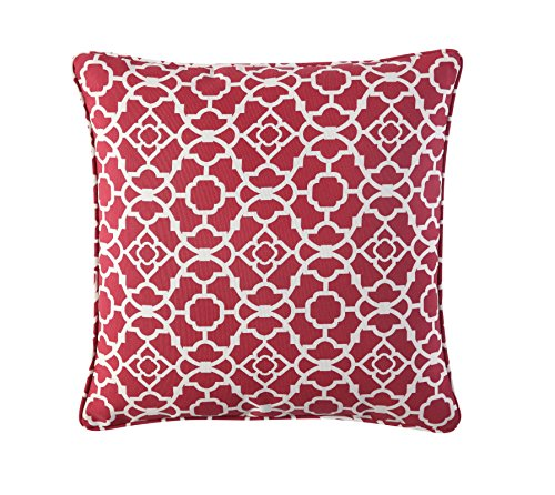 WAVERLY Indoor/Outdoor Decorative Throw Cushion – 17 x 17 Inches, FILLING INCLUDED, Available in Many Designs, Comfortable and Durable (Lov Latt RED) by WAVERLY