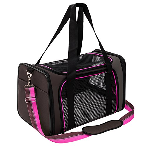 - Pet Carrier Compatible Dog and Cats, Airline Approved Bag, Travel Collapsible for Small Puppy Up to 15lbs, Soft Side Dog Crate, Portable Kennel for Puppies (Medium, Rosy)