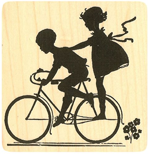 "{Single Count} Unique & Custom (3"" by 3 1/4"" Inches) ""Boy & Girl Riding Vintage Bike Silhouette"" Rectangle Shaped Genuine Wood Mounted Rubber Inking Stamp"